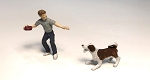 O Scale Boy Playing Frisbee with Dog