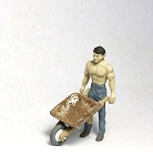 O Scale Man Pushing Wheelbarrow