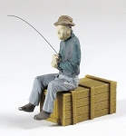 O Scale Fishing Man Sitting