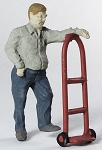 O Scale Worker With Hand Truck