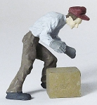 O Scale Worker Picking Up Box