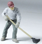O Scale Man mopping