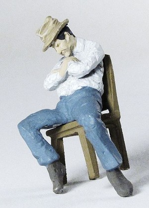 O Scale Sleeping Man Leaning in Chair