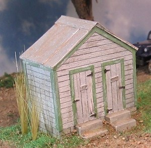 HO 1:87 Scale 2 Door Outhouse