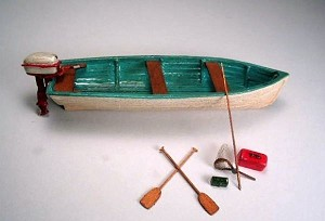 O 1:48 Scale 17' Utility Boat Kit Full Hull
